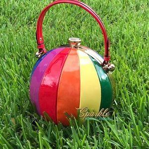 Multi color rainbow patent ball bag